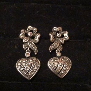 ❤️VALENTINES DAY ❤️SS/Marcasite Heart Earrings #49